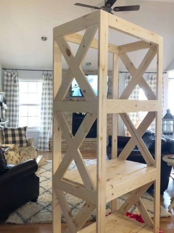 homemade diy farmhouse shelving unit from Missouri Girl Home