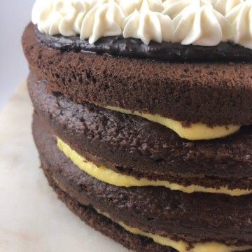 Holiday celebration cake with layers of chocolate cake, butter custard filling and whipped topping piped on top