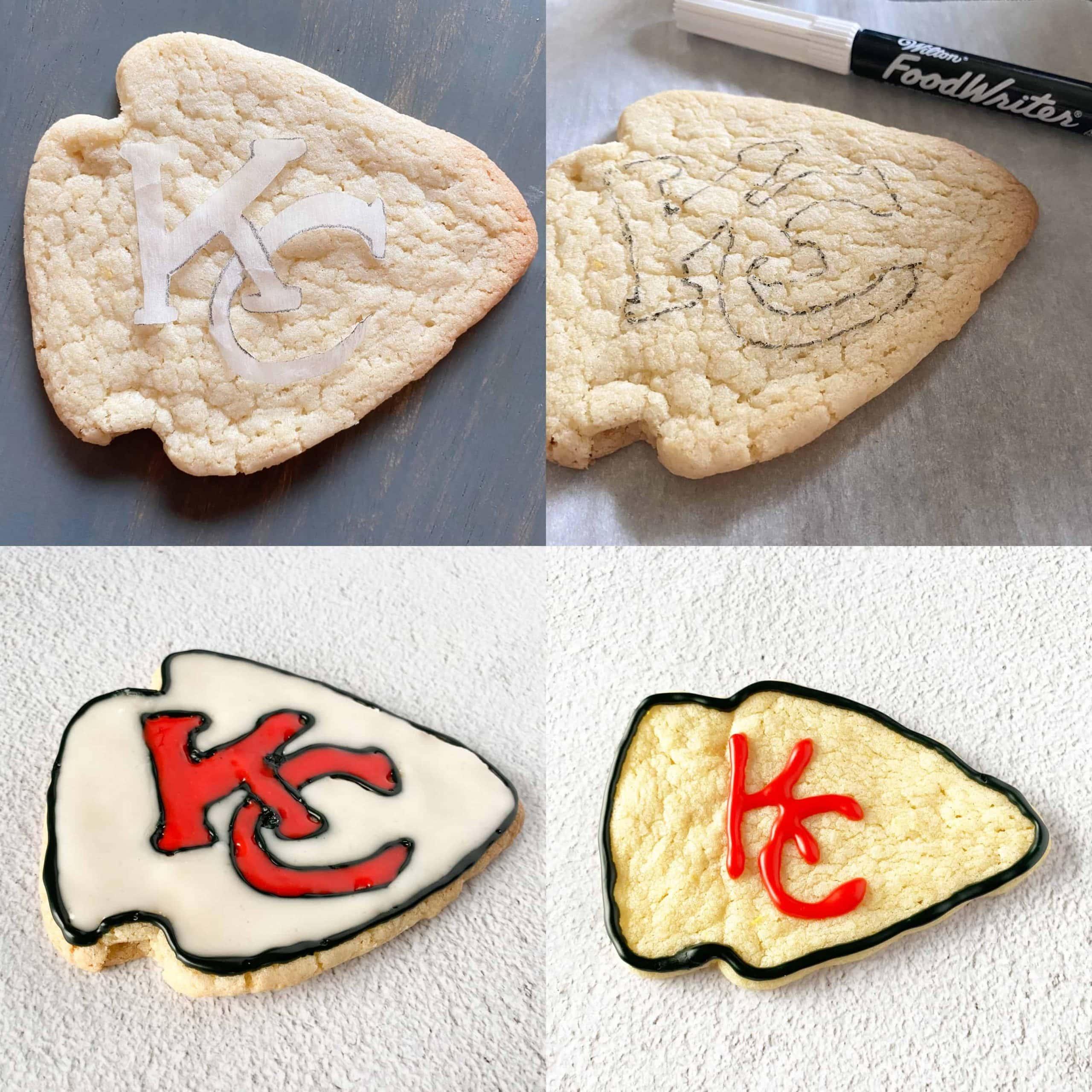 steps to decorate a Chiefs arrowhead sugar cookie