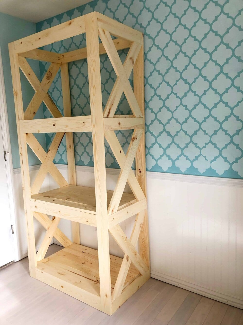 This is the unfinished shelving unit. We used a standard grade pine to keep the cost low. Missouri Girl blog.