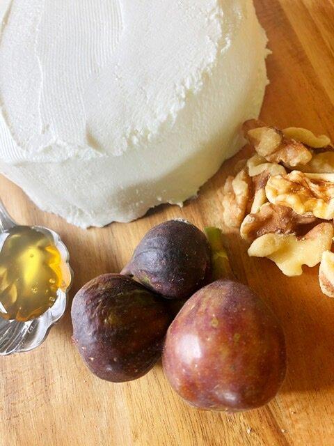Homemade greek yogurt cream cheese with figs, walnuts, and Honey
