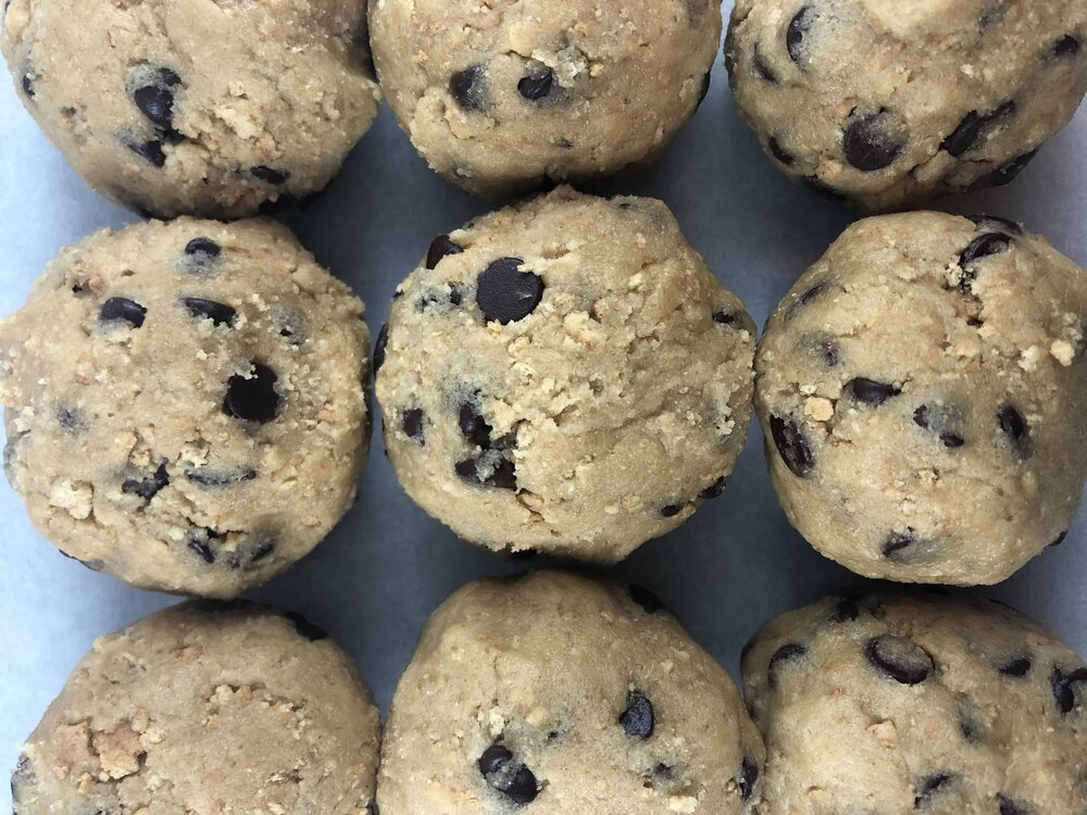 Graham cracker  chocolate chip cookie and marshmallow cookie dough balls