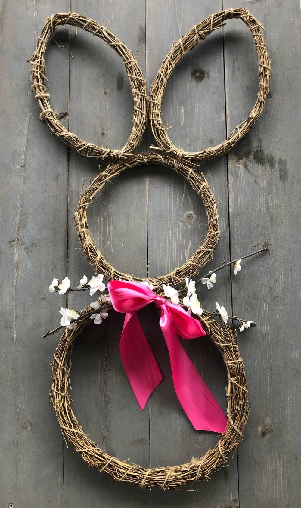 Missouri Girl DIY $6 Easter bunny wreath with pink bow and flower for whiskers
