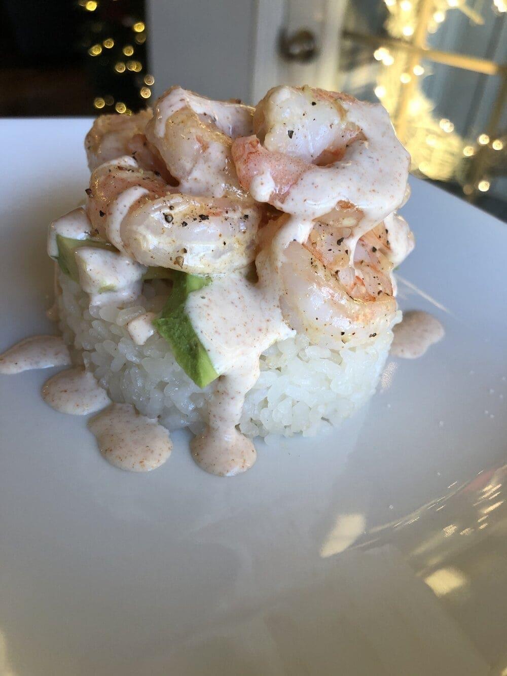 Missouri Girl Everything Sauce on sushi shrimp stacks