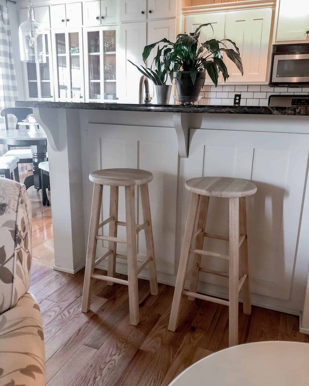 See how you can give ordinary bar stools and farmhouse makeover on a budget. Missouri Girl Home Blog