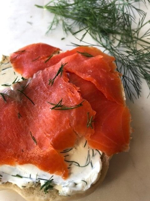 Lox. Bagel, smoked salmon, dill cream cheese
