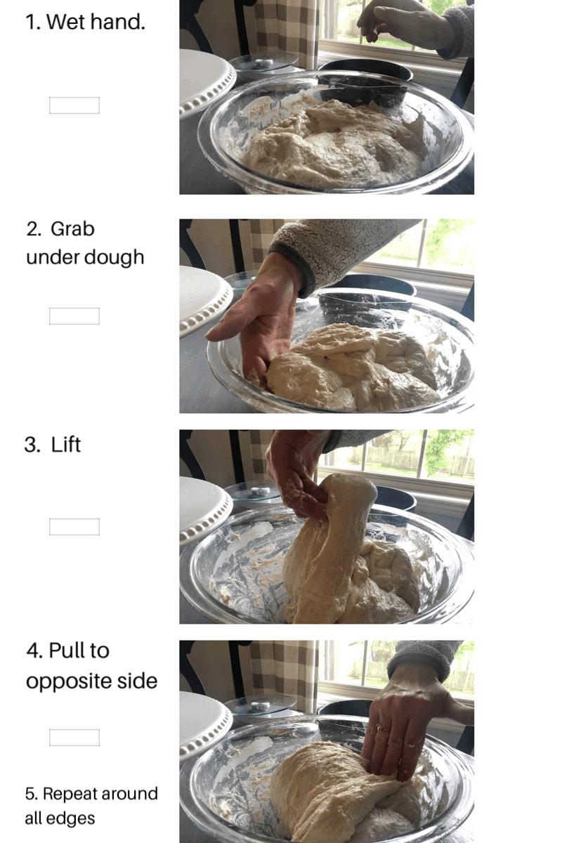 Missouri Girl sourdough bread. Steps to stretching and folding sourdough. Missouri Girl Blog