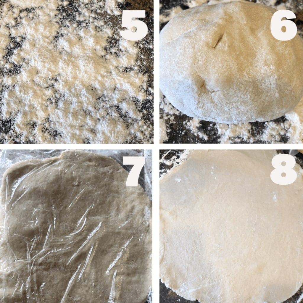 Shows steps 4-8 to making the Missouri Girl pie crust: flour the surface, form a dough ball, wrap in plastic wrap and refrigerate, roll dough out