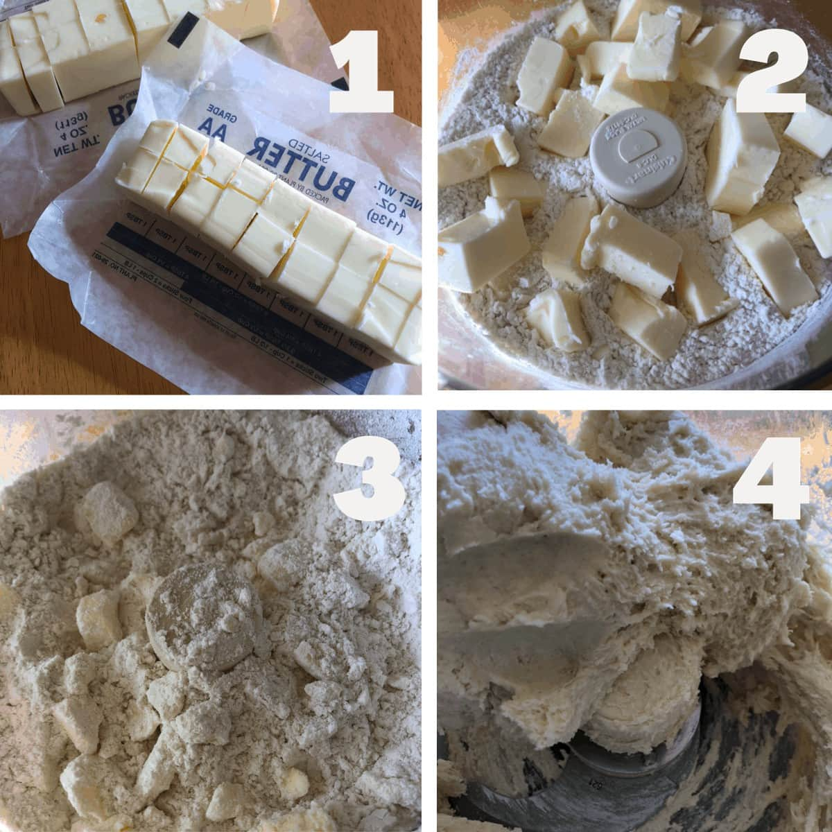 Shows the first 4 steps to making the Missouri Girl pie crust, cubing the butter, adding butter to flour in a food processor, pulsing to combine, forming dough ball in the food processor.
