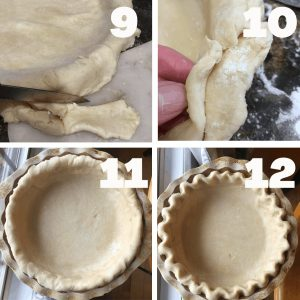 shows the final 4 steps in making a pie dough, from trimming the edges to fluting the pie crust