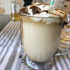 Dessert coffee with whipped cream and chocolate sauce on top