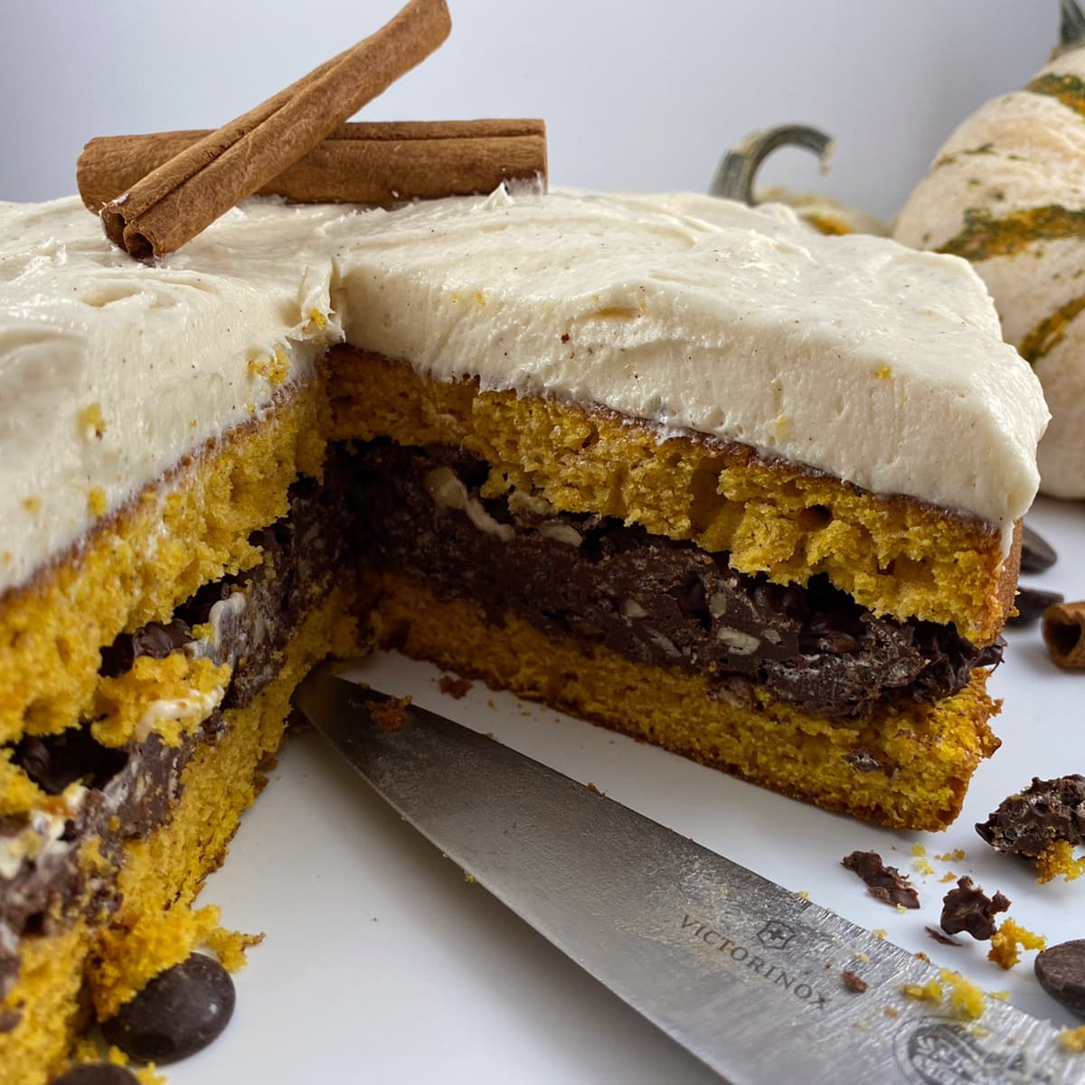Pumpkin Cake with Pumpkin SpiceFrostingwith hazelnut crunch fillings  tgat is garnished with cinnamon sticks and surrounded by pumpkins,  chocolate chips, and cinnamon sticks