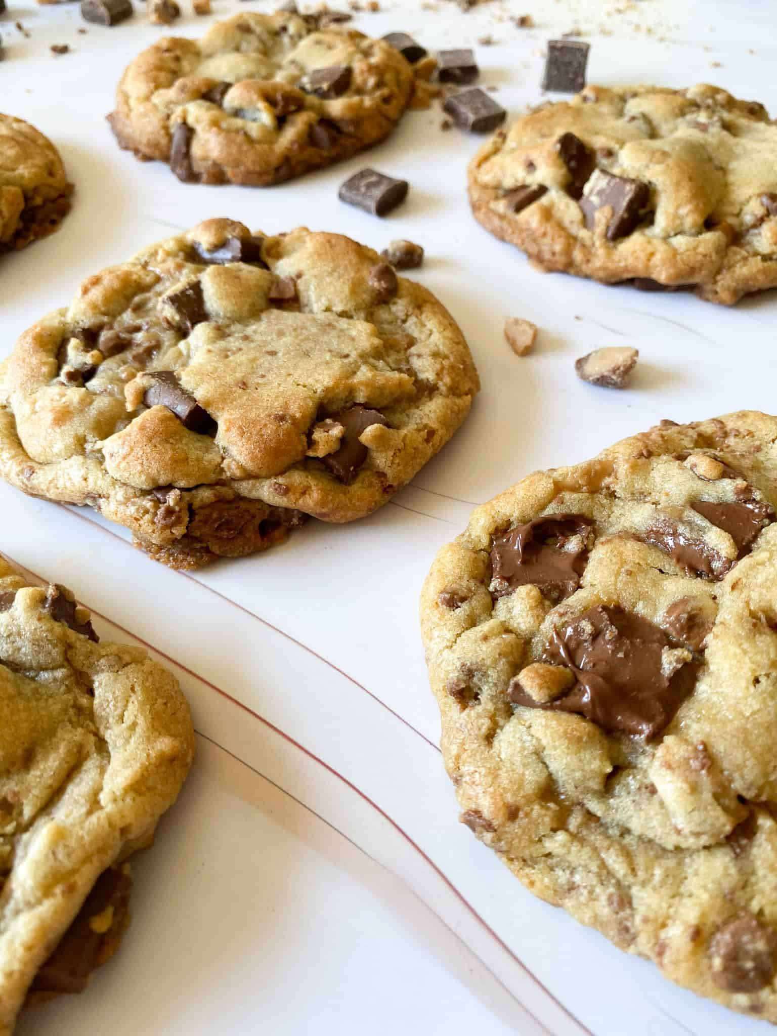 gooey chocolate chunk cookies with toffee and chocolate chunks