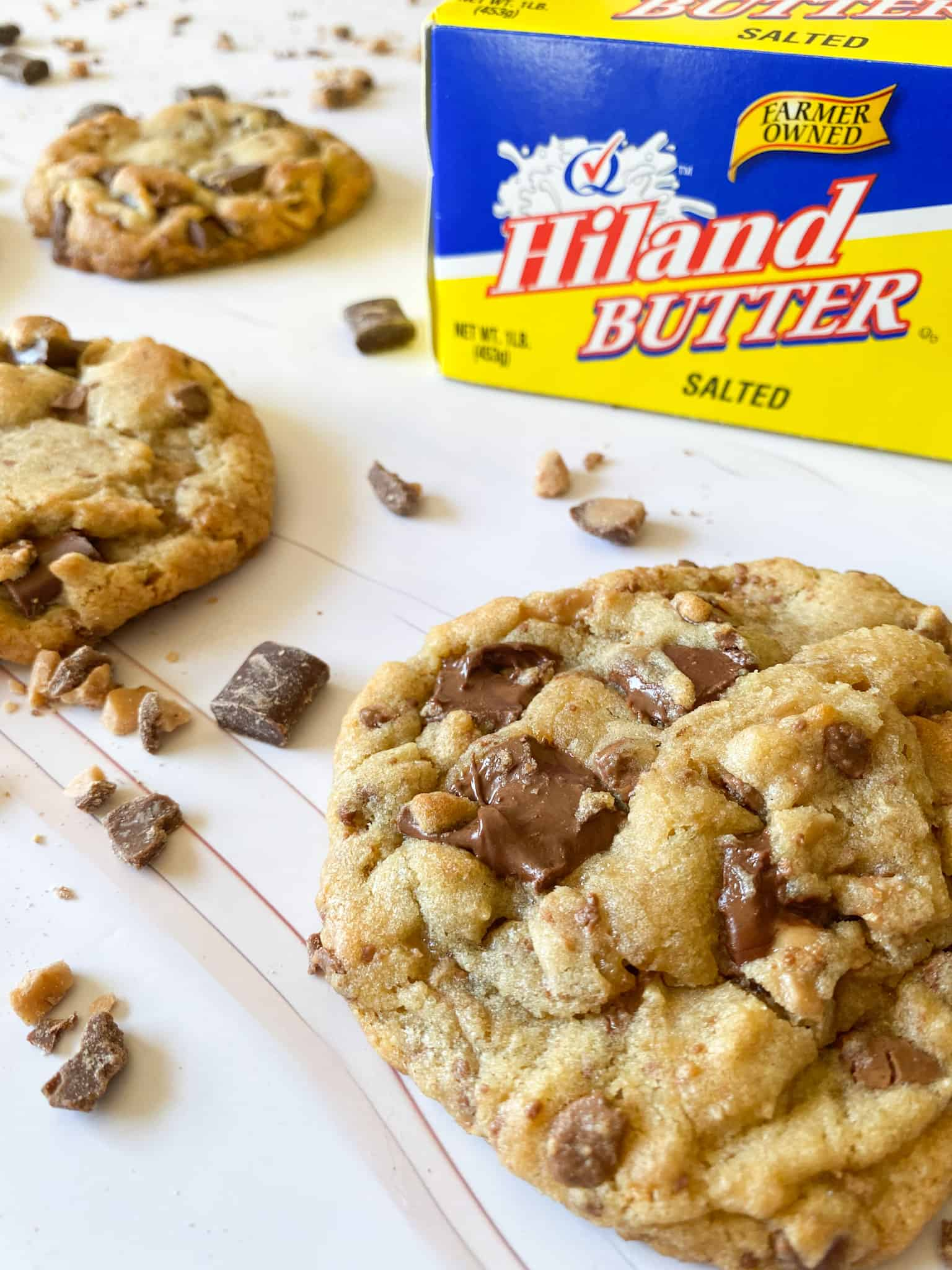 gooey chocolate chip cookies with Hiland butter, chocolate chunks, and toffee bits