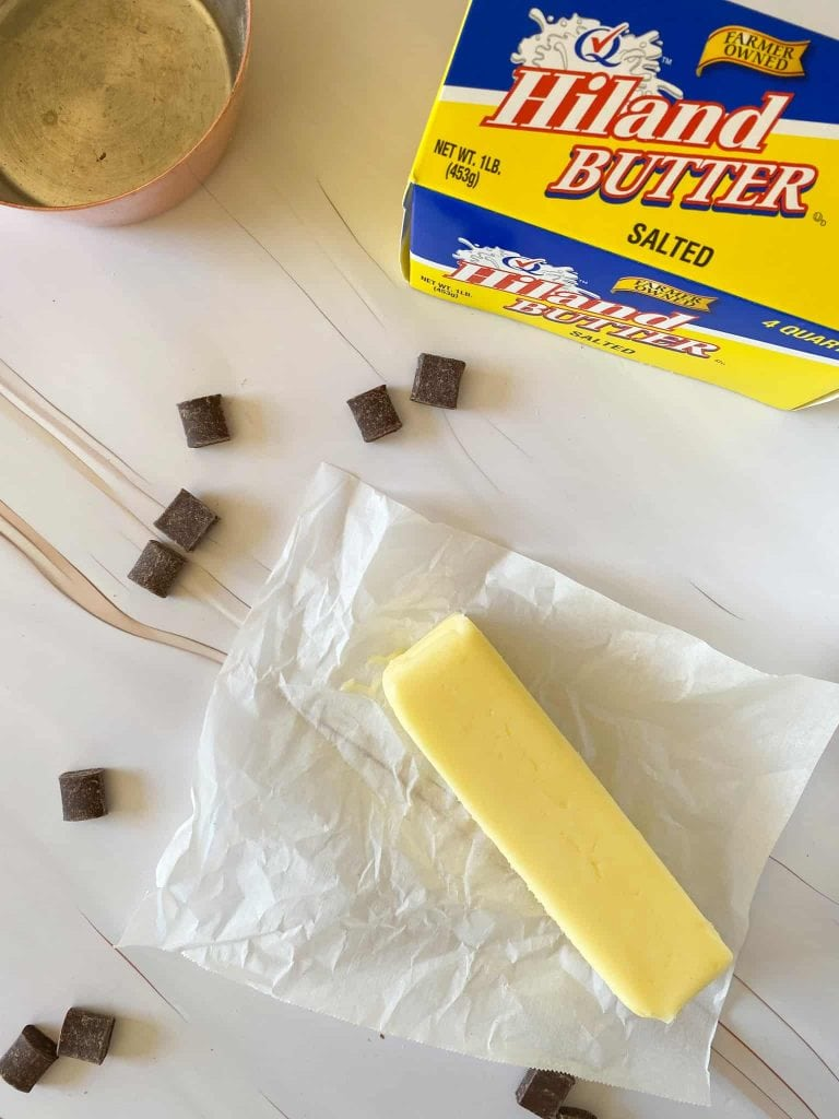 Hiland butter stick with chocolate chips and the Hiland Dairy butter box in the background