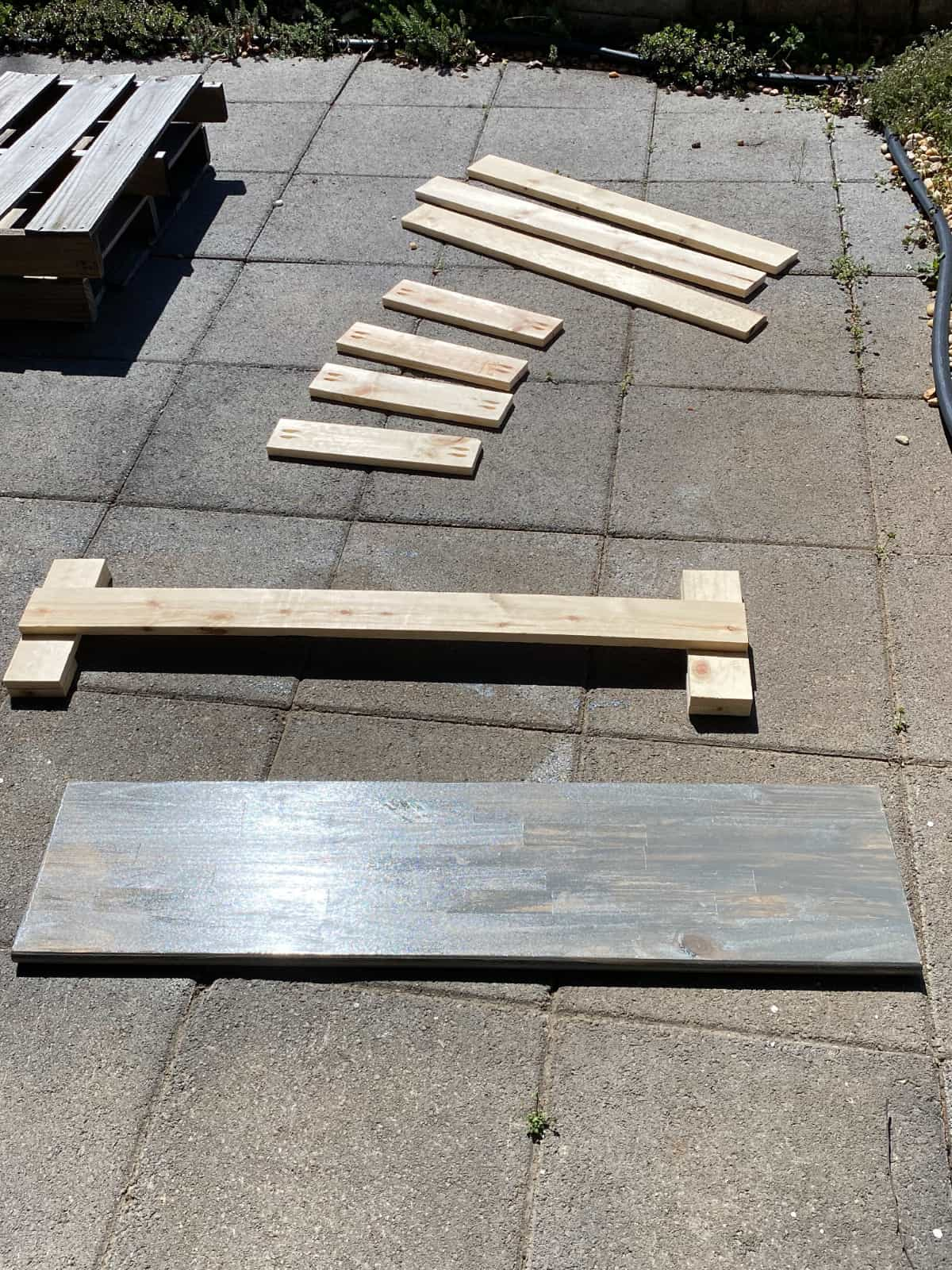 cut lumber and top for a diy bench
