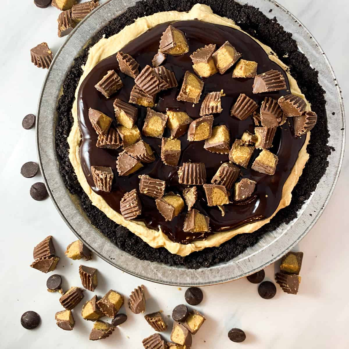no bake chocolate peanut butter pie surrounded by reese's peanute butter cups