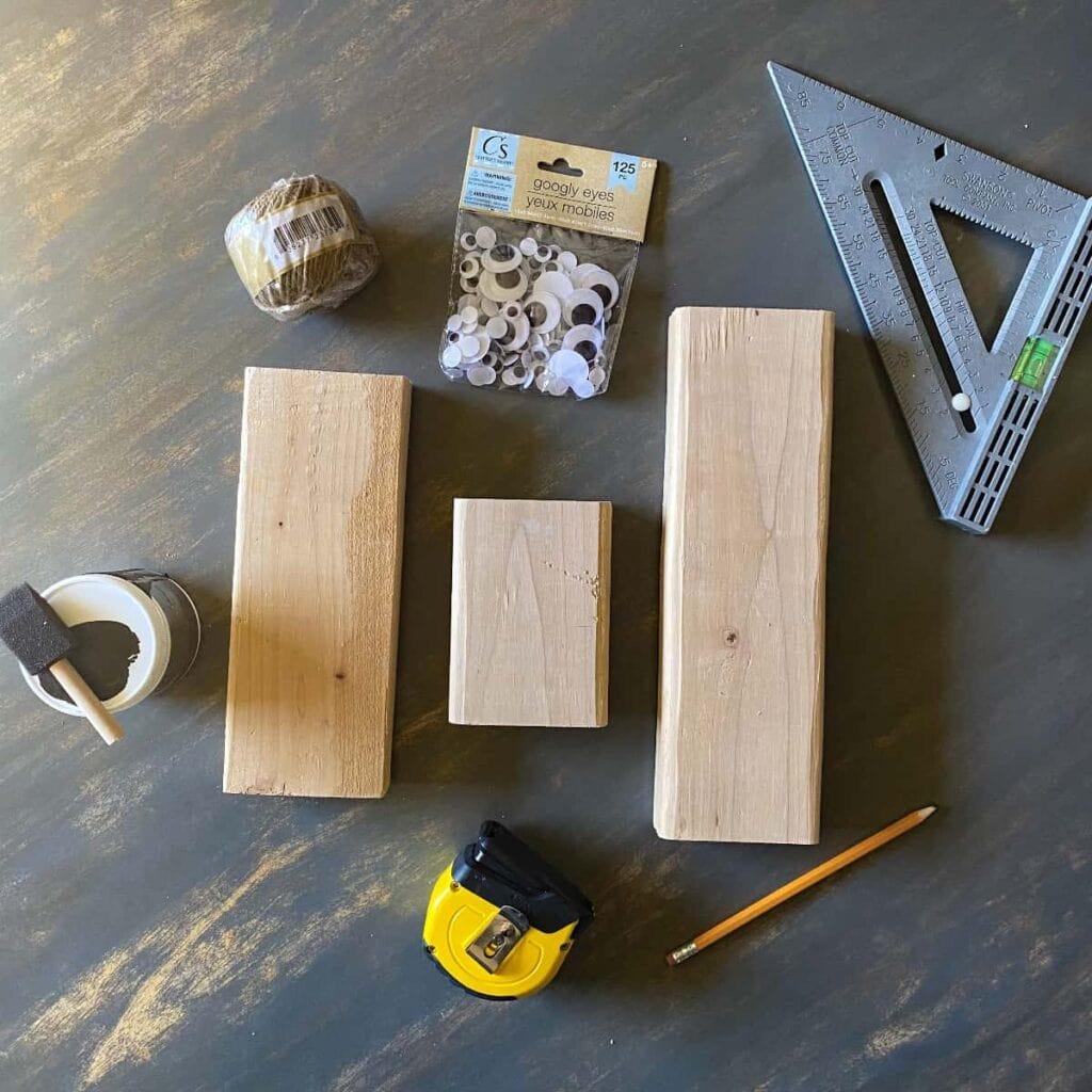 supplies needed to make halloween black cat wood block decor